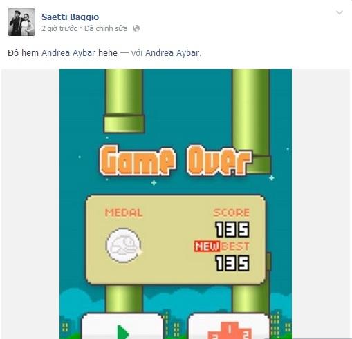 Một tài khoản facebook cũng có tên Baggio đã rủ rê Andrea chơi trò chơi Flappy Bird