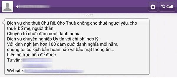 Tin nhắn rác với nội dung quảng cáo dịch vụ trái với thuần phong mỹ tục của dân tộc Việt Nam.