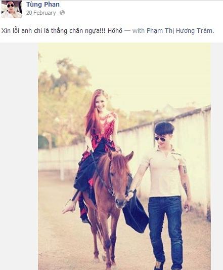 """Bạn trai cô cũng """"dí dỏm"""" ví mình là chàng chăn ngựa khi đi cùng cô trong một buổi chụp ảnh ngoài trời."""