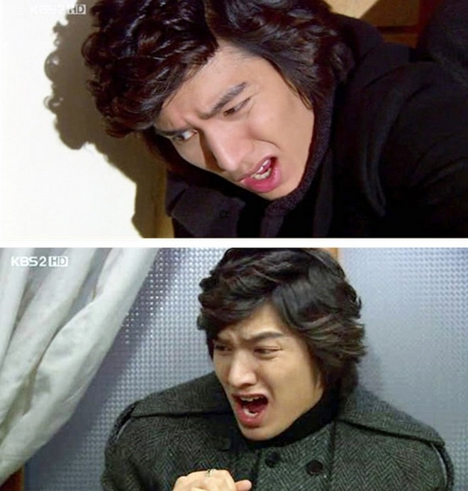 """""""Chàng Xoăn"""" Lee Min Ho nhăn mặt nhíu mày vì bị đánh."""