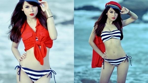 Sam lại khác, hot girl tận dụng tối đa mọi góc độ để khoe vóc dáng cơ thể mình trước biển.