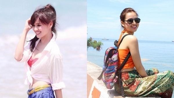 Hot girl Hà thành - Tâm Tít cũng chuộng gu thời trang kín đáo khi đi biển, cô diện rất nhiều lớp áo váy, che đi phần gợi cảm trên cơ thể.