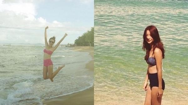 Khác với vẻ ngoài trẻ con thường thấy, khi đi biển, Quỳnh Anh Shyn cũng ra dáng một thiếu nữ.