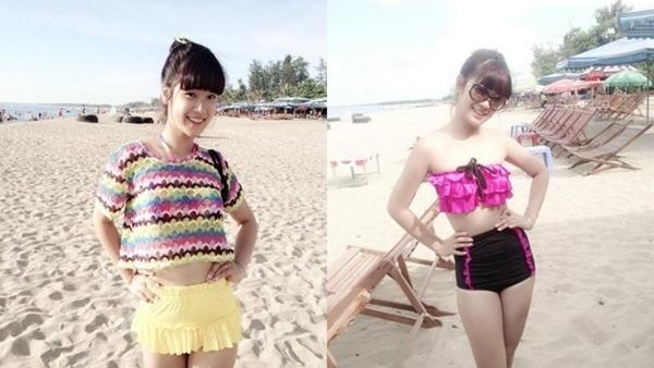 Hoàng Yến Chibi lại thích những trang phục biển màu sắc có phần hơi trẻ con. Nhờ vậy, dù diện trang phục mát mẻ nhưng hot girl vẫn giữ được vẻ ngoài nhí nhảnh.