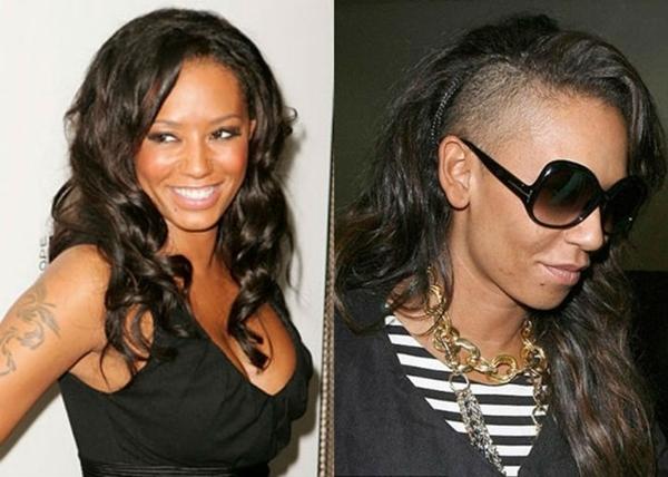 """Cựu thành viên của Spice Girls - Mel B bị cho là quá tuổi để chơi kiểu tóc đầy nổi loạn này. Thế nhưng, đàn chị xinh đẹp này """"chịu chơi"""" không kém bất cứ sao trẻ nào khi quyết định cạo một phần tóc bên phải đến sát da đầu."""