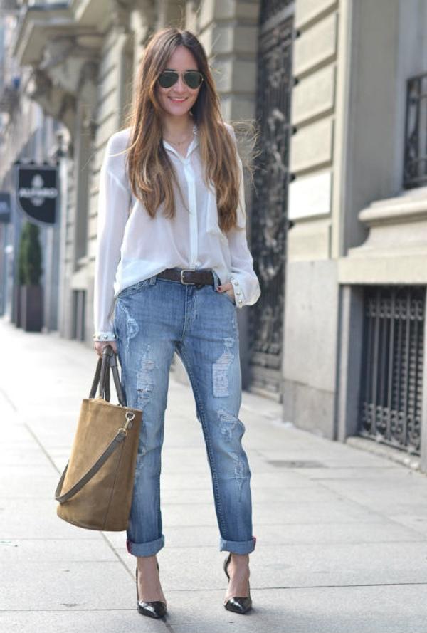 Diện boyfriend jeans khỏe khoắn dạo phố cuối tuần