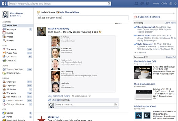 Giao diện Facebook hiện nay
