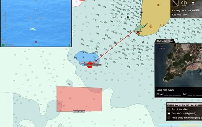 """Hình ảnh được máy bay CASA 801 phát hiện lúc 10h53 phát hiện tại tọa độ 7o59'17"""" - 103o103'44'05""""(Theo Vietnamnet)"""