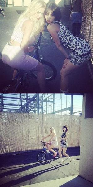 Trong khi đó, HyunA khoe hình chụp chung với nữ ca sỹ người Anh Rita Ora và họ cùng nhau dạo chơi trên đường