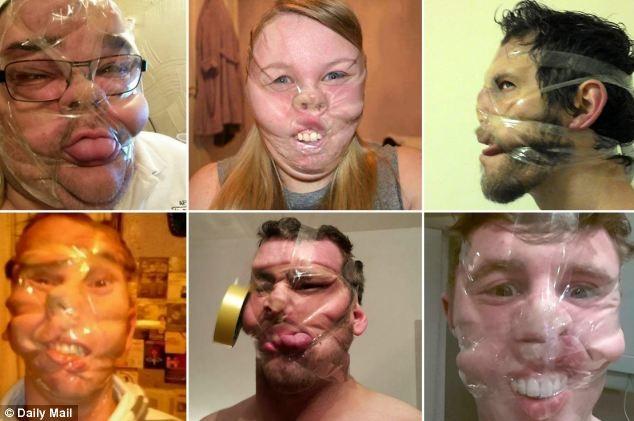 Rất nhiều hình ảnh quấn băng keo quanh mặt được chia sẻ rộng rãi trên mạng