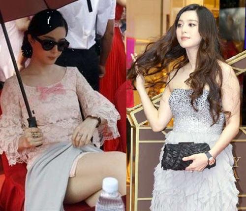 Dù có phong cách thời trang đẳng cấp quốc tế nhưng nhiều lần Phạm Băng Băng vô tình lộ vai u bắp tay bắp chân to thô