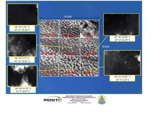 Hình ảnh vệ tinh cho thấy các vật thể ở nam Ấn Độ dương.