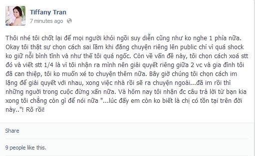 Những dòng status mà Quỳnh Trâm mới đăng tải.