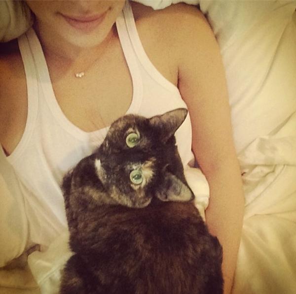 Lea Michele dành hầu hết thời gian cho con mèo của cô ấy. Có vẻ như cô chẳng bao giờ rời xa chú mèo của mình.