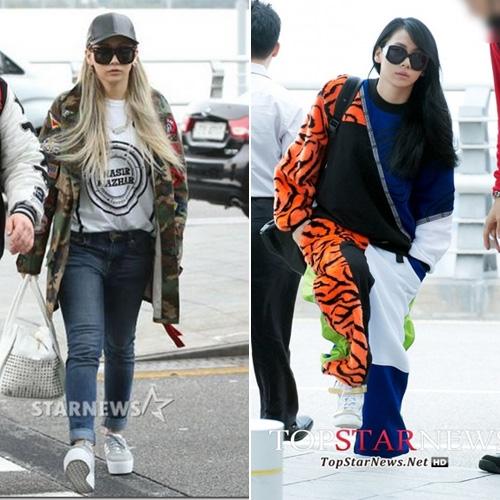 Dù nổi loạn trên sân khấu, CL thường xuất hiện tại sân bay với những bộ trang phục thể thao, kín đáo.