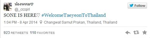 Fan Thái chào đón Taeyeon nồng nhiệt