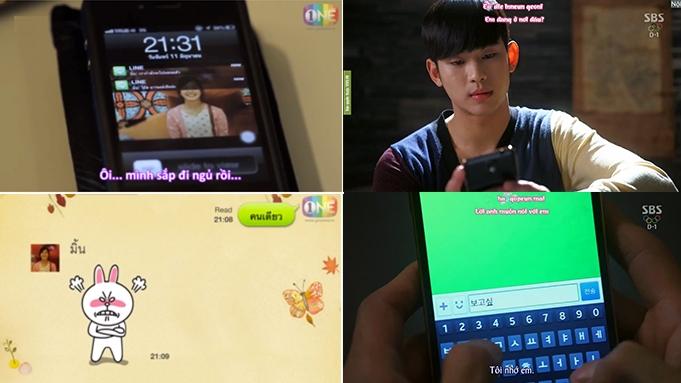 """Người yêu của Mok (phim Tuổi Nổi Loạn) thường xuyên """"bỏ bom"""" tin nhắn và làm nũng bằng Sticker hờn dỗi, trong khi """"cụ"""" Do Min Joon (phim Vì Sao Đưa Anh Tới) từ một người cổ lổ sĩ cũng phải tập tành dùng Sticker để """"tiếp cận"""" với cô nàng Chun Song Yi thời thượng"""