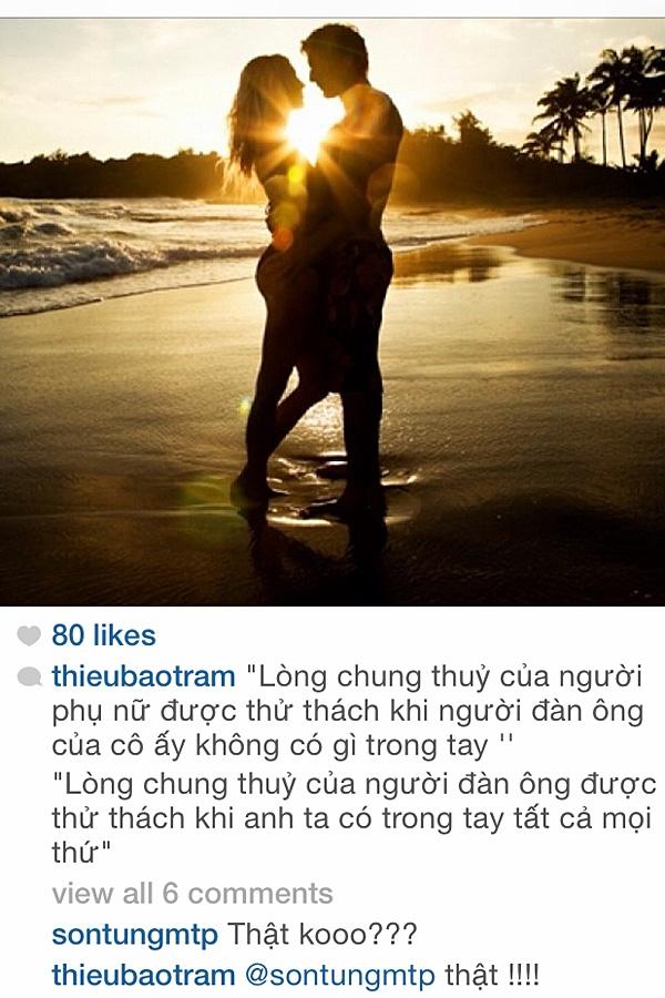 """Trên Instagram của Thiều Bảo Trâm, Sơn Tùng cũng rất hay """"ghé qua"""" và để lại những bình luận """"ngắn gọn, dễ thương"""""""