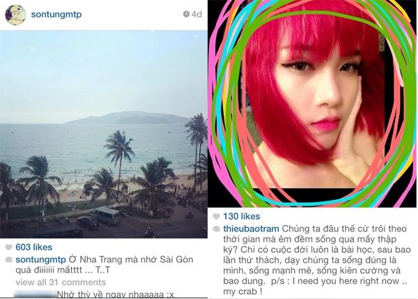 Ngày 20/4 Thiều Bảo Trâm có vẻ đang gặp chuyện rắc rối và người yêu thì không ở bên cô, còn Sơn Tùng có vẻ cũng nóng ruột khi đang ở Nha Trang đi diễn.