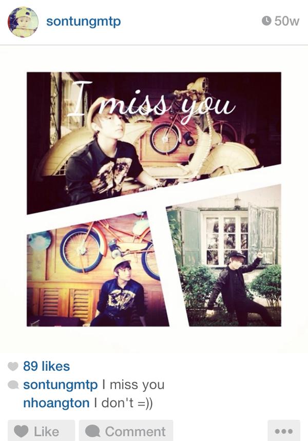 """Ngày 15/5/2013, Sơn Tùng chia sẻ: """"I miss you"""""""
