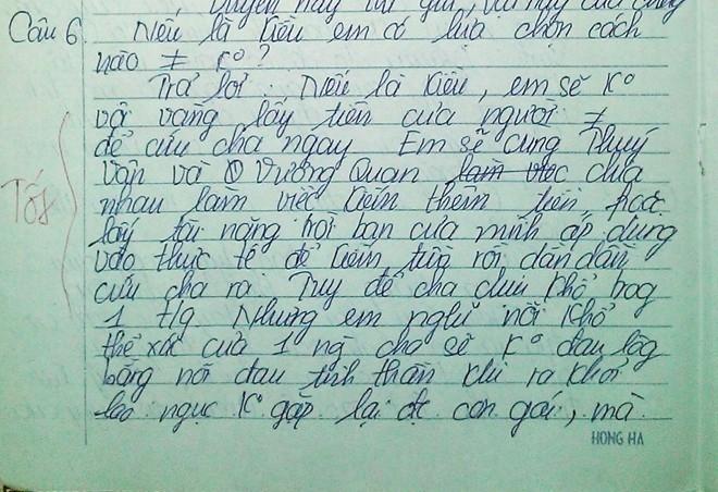 Bài kiểm tra Văn hóa thân thành Thúy Kiều của nữ sinh Nguyễn Thị Hồng Yến.