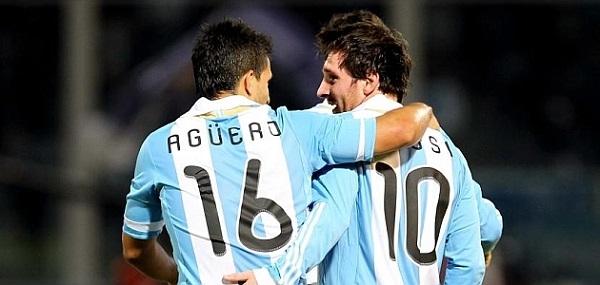 Messi và Aguero trong màu áo tuyển Argentina