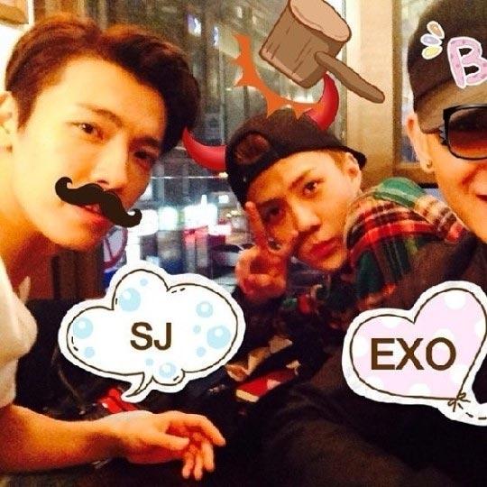 Donghae khoe hình chụp nhí nhố cùng hai đàn em Sehun và Tao (EXO)