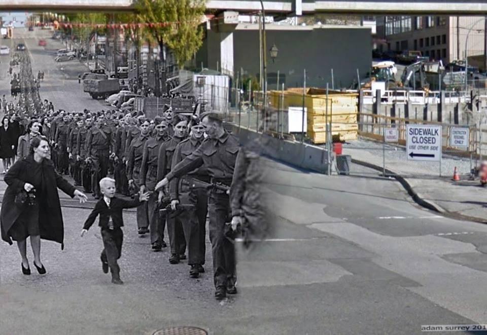 """""""Wait for me, Daddy"""" (Đợi con với, Cha ơi) - bức ảnh được chụp bởi Claude Dettloff, một nhiếp ảnh gia cho Vancouver Daily Province. Bức ảnh này cũng đã trở thành tấm ảnh nổi tiếng nhất trong lịch sử của Cananda"""