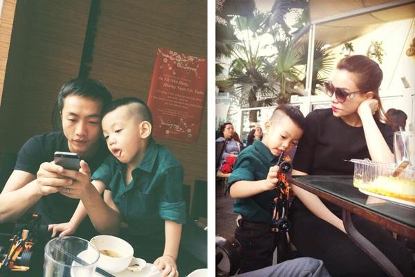 Do tính chất công việc, Hà Hồ thường phải xa con, những khi đó, Quốc Cường luôn làm tốt vai trò của 1 người cha và có vẻ anh như một người bạn lớn của Subeo