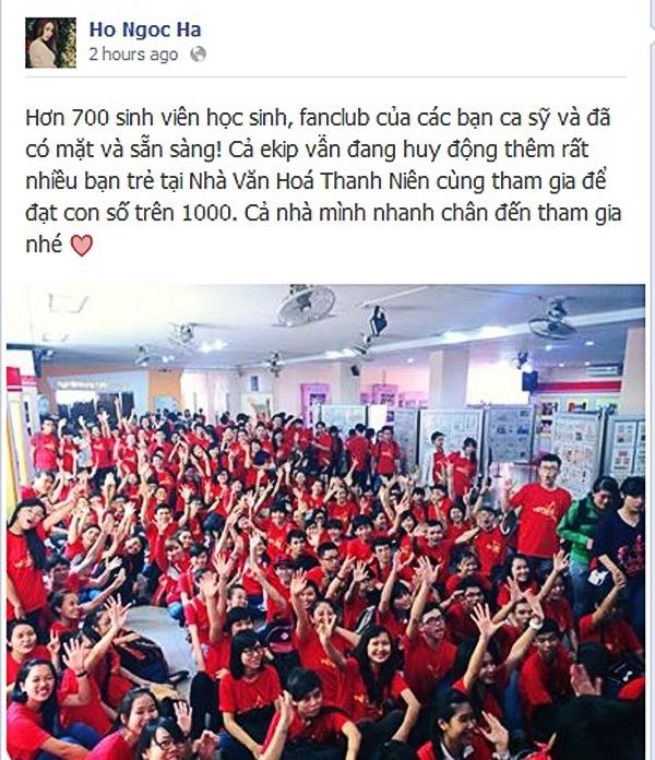 Hồ Ngọc Hà hạnh phúc khi FC của cô cũng như các nghệ sĩ khác nhiệt tình tham gia vào dự án MV Những trái tim Việt Nam - dự án cổ vũ tinh thần cho các chiến sĩ biển đảo, kết nối đoàn kết của người Việt trẻ.
