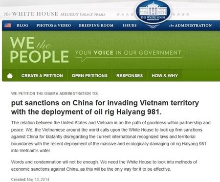 Bản kiến nghị viết bằng tiếng Anh yêu cầu trừng phạt Trung Quốc về việc nước này hạ đặt giàn khoan Hải Dương 981 trái phép tại vùng đặc quyền kinh tế và thềm lục địa của Việt Nam trên trang web của Nhà Trắng. Ảnh cắt từ whitehouse.gov.