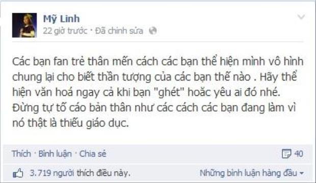 """Ngay sau những lời comment thiếu tích cực và có phần """"thiếu văn hóa"""" trên trang fanpage của mình, diva Mỹ Linh đã chính thức lên tiếng. - Tin sao Viet - Tin tuc sao Viet - Scandal sao Viet - Tin tuc cua Sao - Tin cua Sao"""