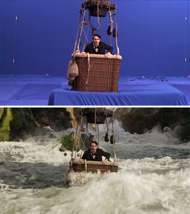 Dòng nước chảy xiết trong phim là những... tấm vải màu