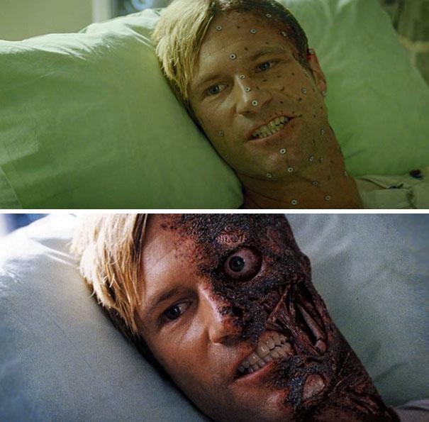Gương mặt của nam diễn viên Aaron Eckhart đã được đánh dấu để trở thành gương mặt đáng sợ của nhân vật Two Faces.