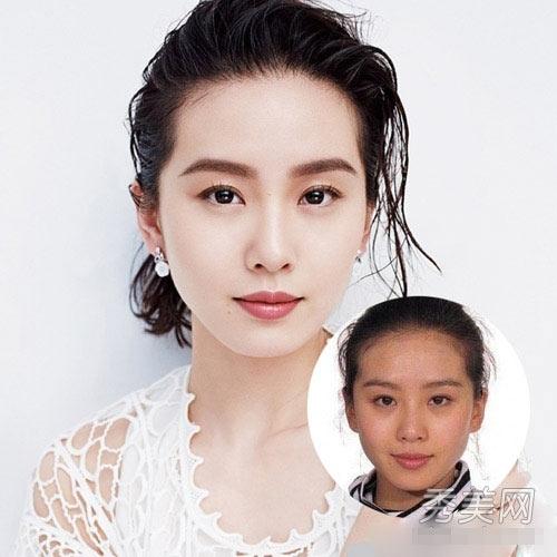 Lưu Thi Thi sở hữu khuôn mặt khá xinh đẹp, nhưng có làn da tối màu và nó chỉ được khắc phục khi cô son phấn