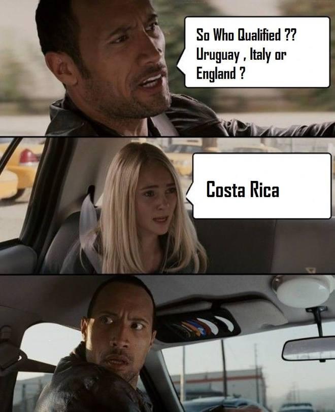 """Costa Rica là đáp án gây kinh ngạc cho câu hỏi """"Đội nào đi tiếp, Uruguay, Italy hay Anh?""""."""