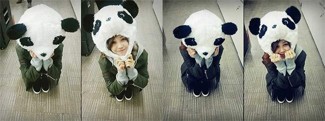 Eunji bất ngờ khoe hình cực đáng yêu với nón gấu Panda và không quên dặn fan nhớ theo dõi Trot Lovers