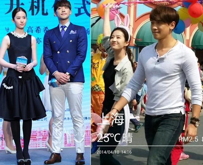 Rain và Lưu Diệc Phi tại buổi họp báo ra mắt phim Lộ thủy hồng nhan hồi cuối tháng 3 và một hình ảnh của cặp đôi này trong phim.