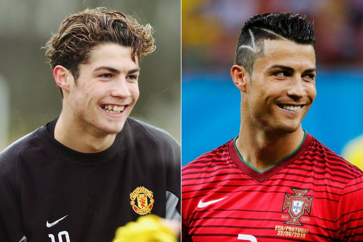 Hình ảnh của Cristiano Ronaldo ở năm 2004 khi còn khoác trên mình chiếc áo của Manchester United. Và một Ronaldo đầy sức sống khi cống hiến hết mình cho Bồ Đào Nha tại FIFA World Cup 2014.