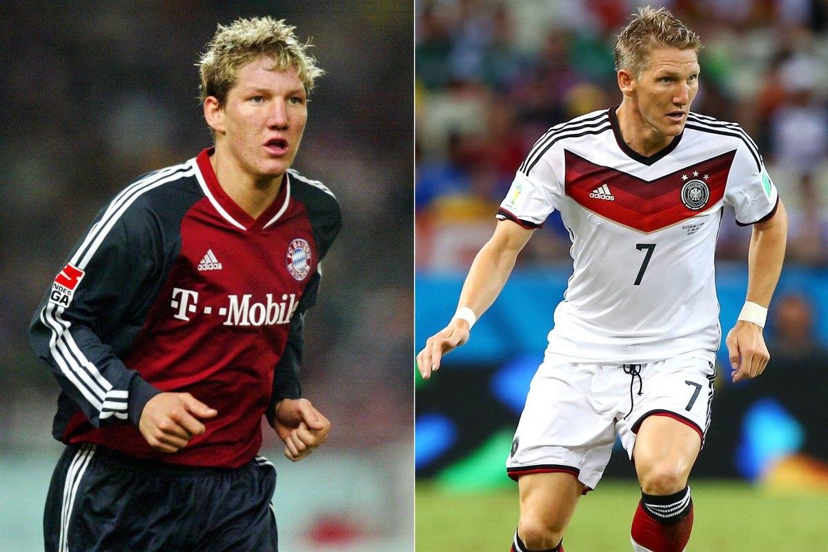"""Trái:Bastian Schweindsteiger vào thời điểm 2002. Phải: Một Bastian đang thi đấu cho """"cỗ xe tăng"""" Đức tại World Cup 2014."""