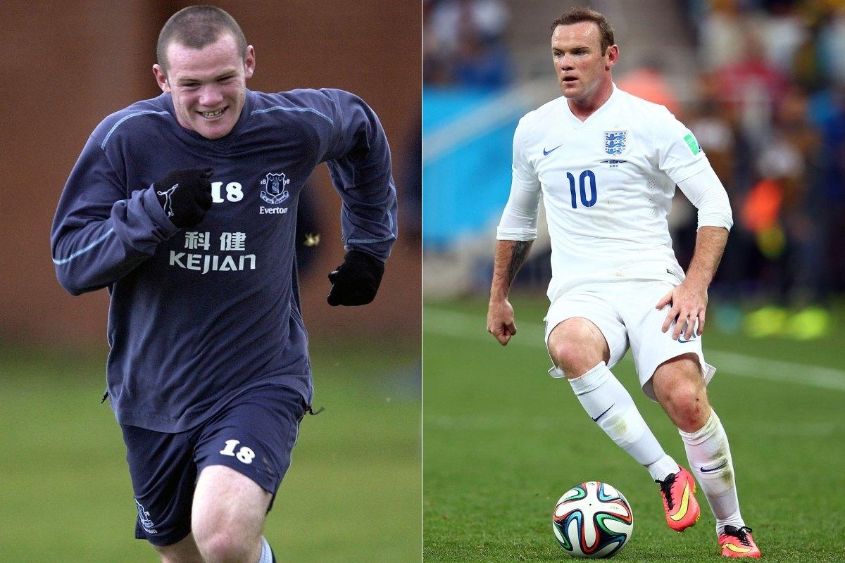 """Wayne Rooney đang trên sân tập năm 2002 và một """"chú sư tử"""" Wayne Rooney trong màu áo của đội tuyển Anh tại World Cup năm nay"""
