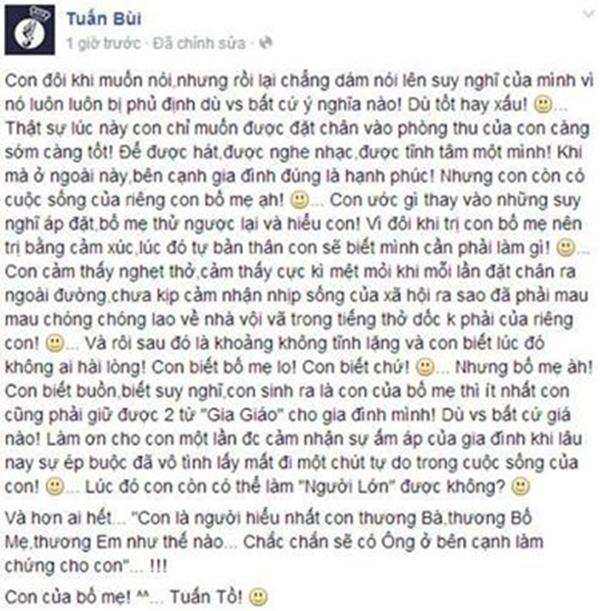 Bức tâm thư của Bùi Anh Tuấn gửi đến cho gia đình. - Tin sao Viet - Tin tuc sao Viet - Scandal sao Viet - Tin tuc cua Sao - Tin cua Sao