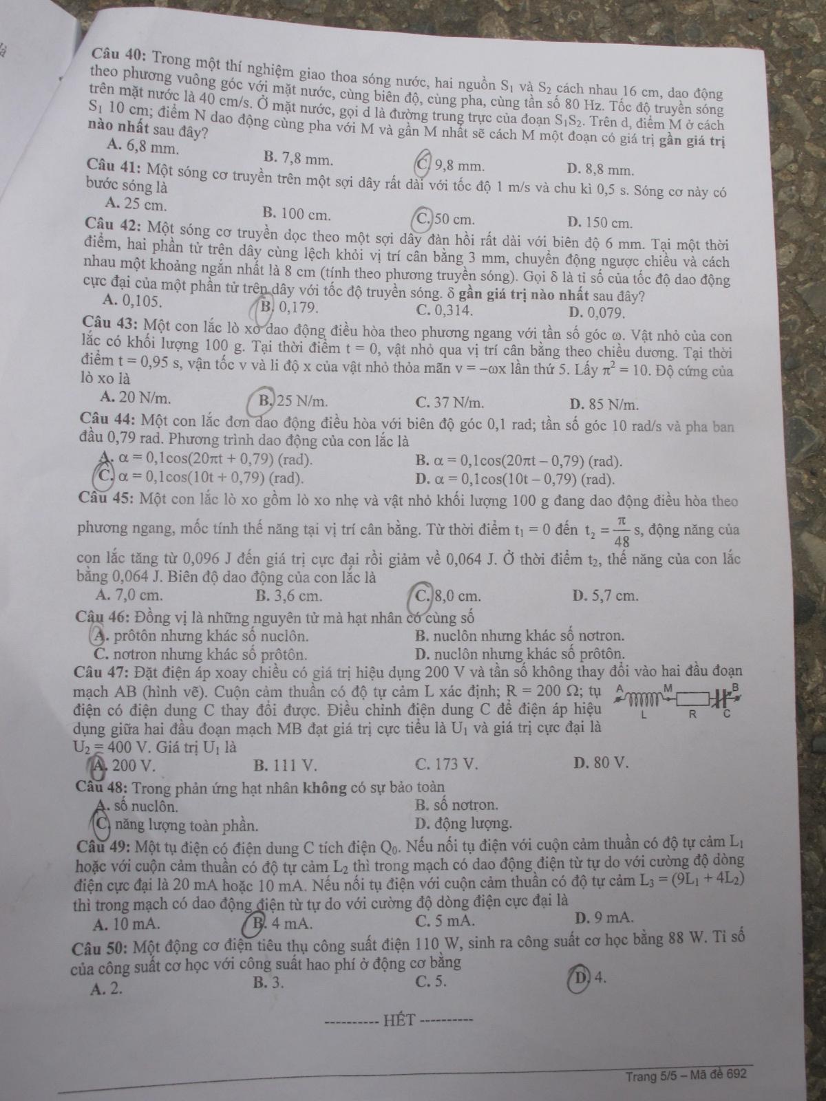 Đề thi môn Lý đại học khối A, A1