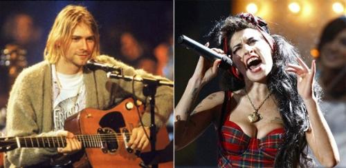 Kurt Cobain và Amy Winehouse.