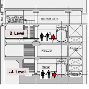 Ga có 4 tầng. Phía trên là gian kiểm soát vé hành khách. Tầng 1 gồm sảnh đợi, máy bán vé, cổng thu phí... Tầng 2: sân ga, nơi có tàu dừng đón trả khách. Tầng 3: Khu vực nghỉ ngơi, điều hòa, thiết bị... Tầng 4: sân ga, bên trái là cầu thang xuống, lên tàu bên phải.
