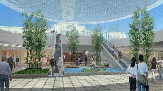Nhà ga này sẽ có các trung tâm thương mại mua sắm. Có thể thấy rõ phần đỉnh chợ Bến Thành từ phía dưới lòng đất nhà ga này.
