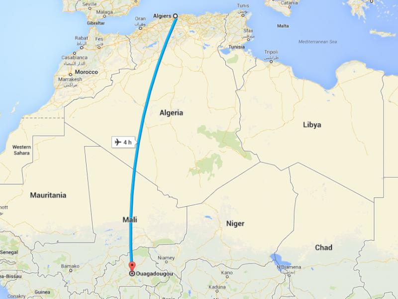 Lộ trình bay được dự kiến kéo dài 4 tiếng từ sân bay Ouagadougou đến Algiers