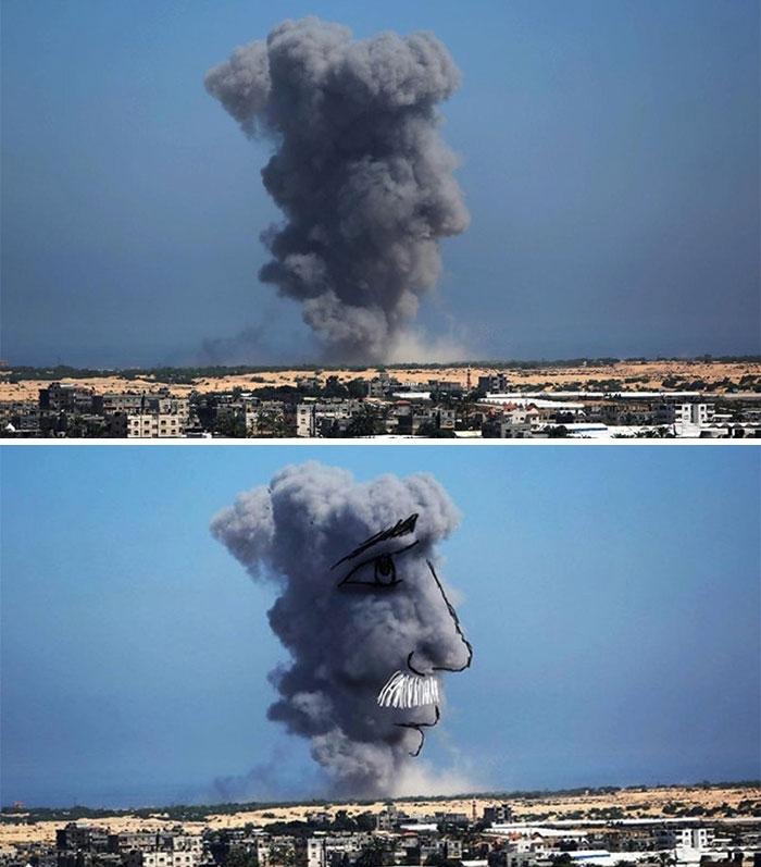 Nghệ thuật từ làn khói tàn phá của hoả tiễn