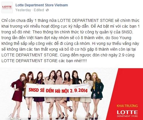 Thông tin được trang facebook của Lotte Department Store chia sẻ vào hôm qua 12/8