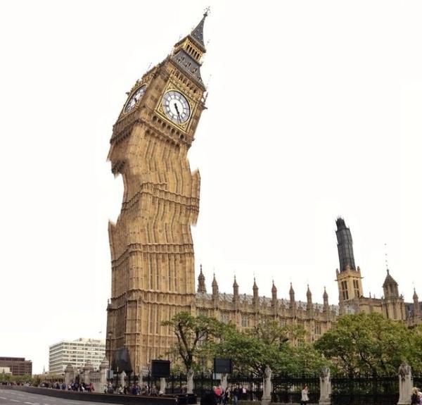 Tháp đồng hồ Big Ben trong phút chốc trở nên xiêu vẹo bất ngờ